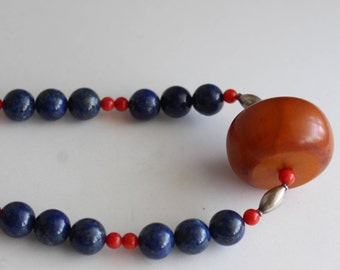 Lapis Coral Amber Sterling beads Necklace