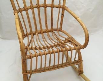 Vintage Child's Size Franco Albini Style Rattan Rocker Rocking Chair