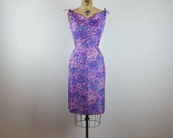 CLEARANCE SALE stop. and smell the flowers | vintage 1960s silk party dress | vtg 60s cocktail dress | small/s