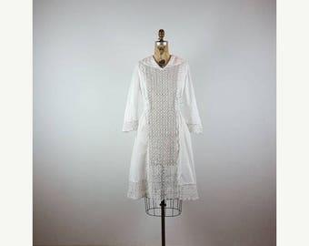 CLEARANCE SALE sailor girl | vintage edwardian play dress | vtg antique cotton lace dress | small/s