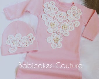 Newborn Girl Coming Home Outfit, Newborn Girl Gown, Pink and Ivory Coming Home Outfit, Baby Girl Take Home Outfit, Victorian Baby Layette