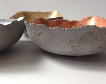 Concrete dishes, set of three, in gold, silver, and copper, ring dish, concrete bowls, concrete decor, concrete tray, industrial decor