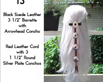 Black & Red Leather Cascading Silver Concho Hair Barrette 13""