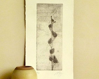 Original Etching Print HAPPYNESS TREE Zen Garden Engraving Printmaking Prosperity Wall Decor Fine Art Hand Pulled Print 14x7