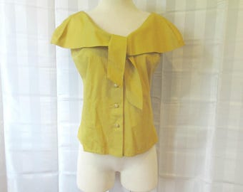 Vintage 1950s 1960s Blouse Ochre Mustard Yellow Sleeveless Shirt Top with Capelet Tie 36 M Medium