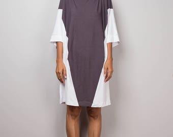 Short dress, Two tone dress, knee length dress, summer dress, loose fit dress, grey dress, allround dress : Two Tone Collection