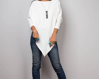White Sweater, Long sleeve tunic, Poncho sweater, White top, Sweater women, knit sweater, pullover sweater, White sweater