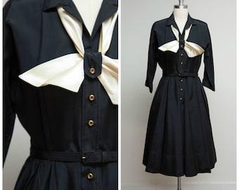Vintage 1950s Dress • Train Station • Black Faille Shirtwaist 50s Dress Size Medium