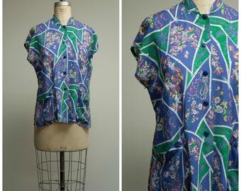 Vintage 1940s Blouse • Summer Sun • Blue Green Printed Rayon 40s Tea Timer Shirt Size Medium