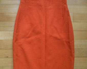80s Céline Paris orange pencil skirt