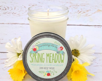 Spring Meadow Soy Wax Candle in 8 oz. Jelly Jar - Green Grass, Spring Candle, Cut Grass, Fresh Candle, Housewarming, Host Gift