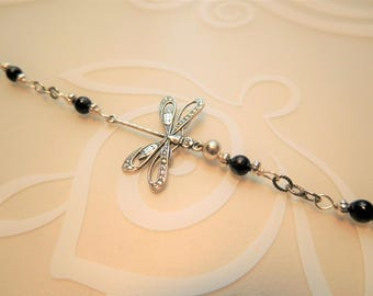 Dragonfly Anklet With Swarovski  Pearls