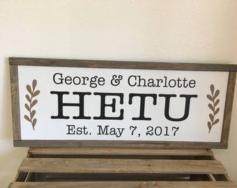 Personalized Family Sign - Wood Framed Farmhouse Style Sign in Custom Colors  - 9.5X23.5