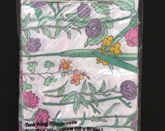 Pair KING Pillowcases by Utica JP Stevens - New Unopened Pkg - Floral Pattern - Shabby Chic - Country Cottage Chic