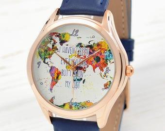 Rose Gold World Map Watch   Womens Watch   Traveler Gift   Watercolor Art World Map Women Watches   Wanderlust Gift for Her   Free Shipping