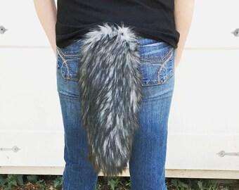 Dark Husky Wolf Tail Faux Fur with Clasp