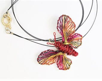 Red butterfly necklace, red gold, wire butterfly pendant, hippie, insect necklace, rainbow jewelry, Summer, Christmas gift for girlfriend