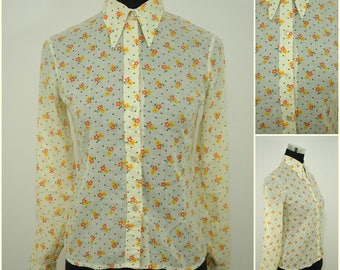 VINTAGE 1970s Funky Retro Orange Pop Flower Shirt Blouse Top UK 8 FR 36/ Groovy/ Hippy/ Dagger Collar