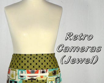LOTSA POCKETS APRON Retro Cameras in Jewel, Zipper Pocket Apron for teachers, wedding planners, photographers, ready to ship in this size