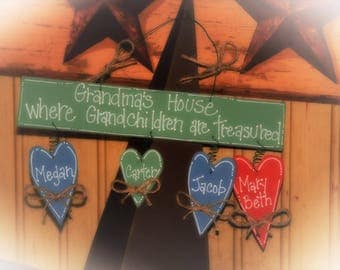 Personalized Grandparent Gift Grandma Blessings Primitive Sign Grandkids Christmas