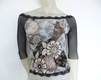 Mesh Sleeves 7/8 off Shoulder Tango Top Size US 4/6 Eu 34/36  Tango Chamise Evening Top Stunning Retro Style Designer Print