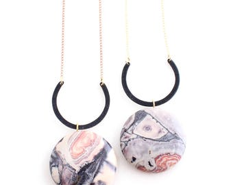 Marble Orion -- black U with marbled purple, pink jasper necklace, minimalist, earthy, boho, natural, nature, feminine pendant for her