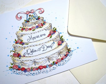 Personalized Wedding Congratulations Card - Wedding Cake Anniversary Card - Wedding Day Card - Bride and Groom Card
