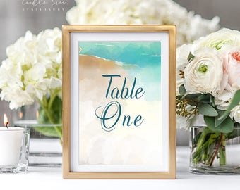 Reception Table Numbers - Sand Dunes (Style 13596)