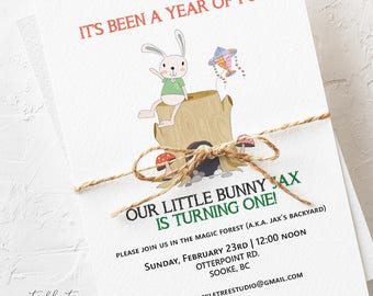 Birthday Party Invitations - Woodland Fun, Look Who's Turning One! (Style 13498)