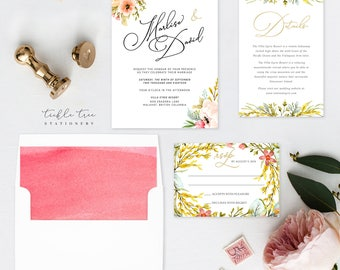 Wedding Invitation Suite, Semi Custom - Mountainside Meadow (Style 13751)