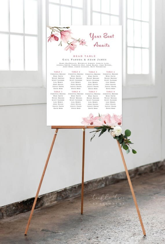 Seating Chart - Soft Pinks, Magnolias (Style 0011)