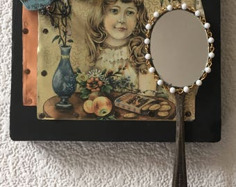 Adolescent girl copper collage mirror,powder room,recycled assemblage,wall art,daughter,bedroom decor,feminine mystic, Victorian Era mirror