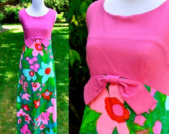 1960's Lisanne Mod Flower Maxi Dress / Vintage Op Art Pink Linen Dress / Empire Waist Maxi Dress / Size 4
