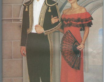 UNCUT Butterick 3237 Men's/Misses' Costume Toreador and Spanish Lady Pattern