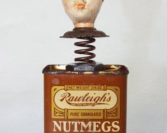 OOAK Mixed Media Assemblage Art Doll - Nutmeg