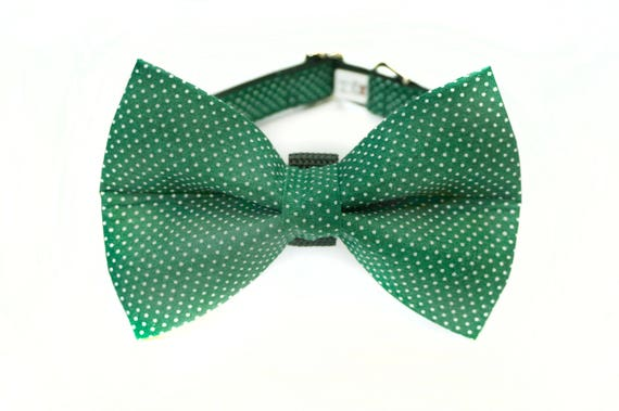 Forest Green Polka Dot Bow Tie and Collar