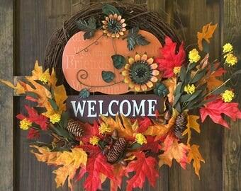 """Fall Wreath / Grapevine """"Welcome"""" Wreath / Fall Pumpkin Wreath"""