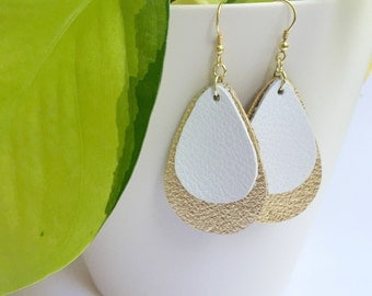 White and gold leather earrings