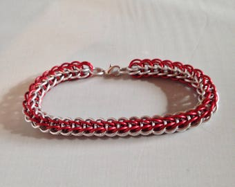 Royal Red and Silver Bracelet