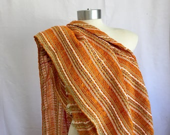 Vintage Burnt Orange Stripe 1970s Home Decor