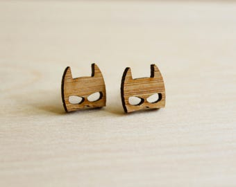Batman Mask Studs, Laser Cut Wood Earrings, Sustainable Bamboo