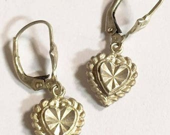 Vintage Beverly Hills Sterling Silver Dangling Hearts Lever Back Earrings