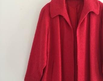 Vintage 50's Coral Pink Boucle Swing Coat L XL
