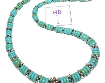 "Handmade 18"" GENUINE Turquoise Rope NECKLACE  SILVER Accent Beads Magnetic Closure"