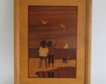 Marquetry Picture, Vintage Framed Wood Hudson River Inlay 'Children At The Beach' Cottage Decor Sailboat Seagulls Nursery Retro Decor