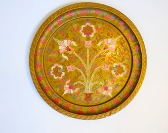 Brass Decorative Floral Tray India