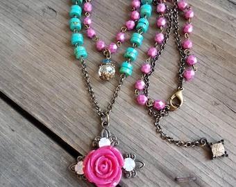 Cross Necklace Turquoise Necklace Rosary Pink Rose Necklace Multiple Strand Religious Necklace Southwestern Arizona Paris Flea Market Rustic