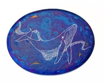 Whale wood sign, humpback whale art, whale painting, ocean nursery art, beach decor, ocean art decor, ocean nursery decor