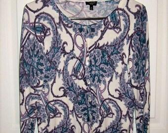 Vintage Ladies Purple, Green & White Paisley Silk Blend Cardigan Sweater by Talbots Petite Medium Only 10 USD