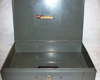 Vintage Asco Steelmaster Gray Metal Office Money Cash Storage Box Only 8 USD
